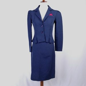 Vintage Navy Pinstripe Skirt Suit and Jacket Size
